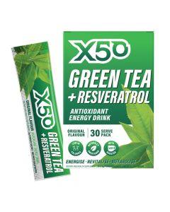 إكس 50 - شاي أخضر + مشروب طاقة مضاد للأكسدة ريسفيراترول - الطعم الأصلي