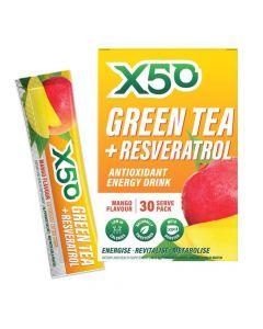 إكس 50 - شاي أخضر + مشروب طاقة مضاد للأكسدة ريسفيراترول - مانجا