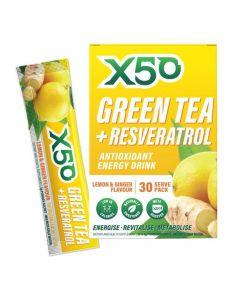 إكس 50 - شاي أخضر + مشروب طاقة مضاد للأكسدة ريسفيراترول - ليمون وزنجبيل