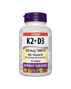 Webber Naturals - Vitamin K2 + D3 120 mcg