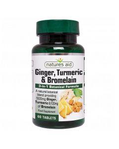 Natures Aid - Ginger, Turmeric & Bromelain