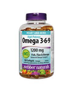 Webber Naturals - Omega 3-6-9 High Potency1200 mgFish, Flax & Borage