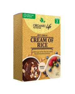 Organic Life Nutrition Cream of Rice Cereal Box