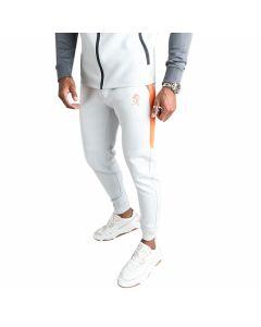 Gym King - Lombardi Poly Tracksuit Bottoms - Ice Grey / Steel Grey / Orange