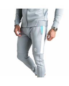 Gym King - Core Plus Contrast Poly Tracksuit Bottoms - Stone Grey / Aqua