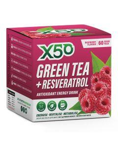 إكس 50 - شاي أخضر + مشروب طاقة مضاد للأكسدة ريسفيراترول - توت