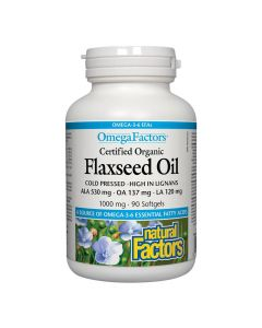 Natural Factors - Certified Organic Flaxseed Oil 1000mg
