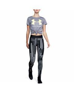 Under Armour - HeatGear Armour Printed Legging - Black/Metallic Silver