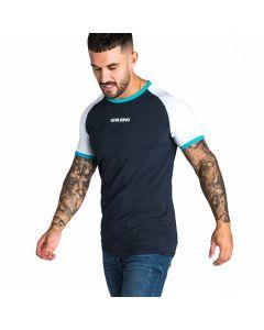 Gym King - Revers T-Shirt - Navy / Aqua / White